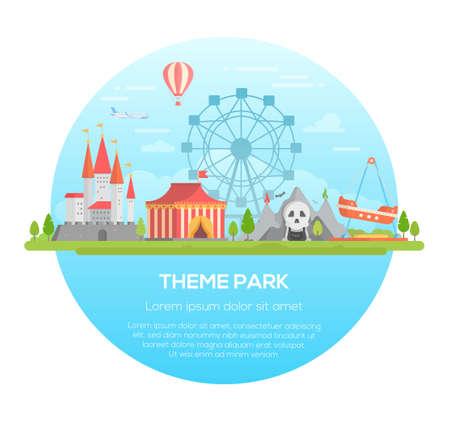 Theme park - modern vector illustration Stock Illustratie