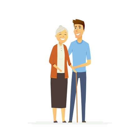 Volunteer with a senior woman - cartoon people characters isolated illustration