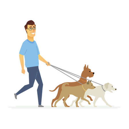 Volunteer helps to walk dogs - cartoon people characters isolated illustration