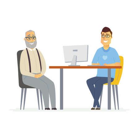 Volunteer help senior man - cartoon people characters isolated illustration