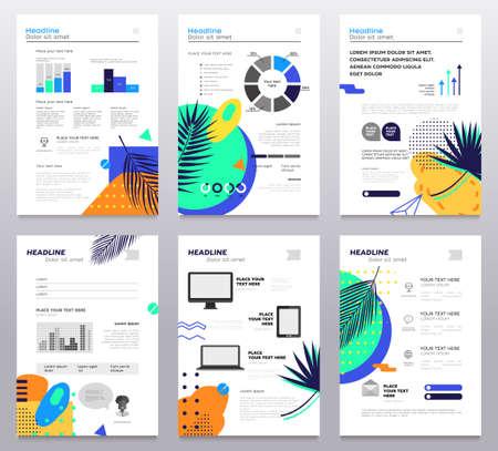 プレゼンテーション小冊子 - 現代ベクトル抽象テンプレートのセット  イラスト・ベクター素材