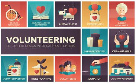 Volunteering - set of flat design infographics elements