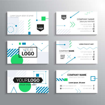 Set of business cards - vector template abstract background Banco de Imagens
