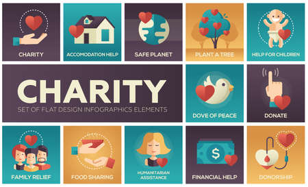 Charity - set of flat design infographics elements. Square icons. Accomodation help, safe planet, plant a tree, children, dove of peace, donate, family relief, food sharing, humanitarian assistance Vettoriali