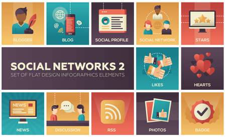Social networks - modern set of flat design infographics elements. Colorful square images of blogger, blog, profile, stars, likes, hearts, news, discussion, RSS, photos, badge Illustration