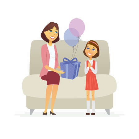 Joyeux anniversaire - personnages de personnages de dessin animé isolés illustration sur fond blanc. Une jeune femme souriante félicite sa fille et lui donne un cadeau et des ballons, la fille est prête à ouvrir le cadeau Banque d'images - 90748499
