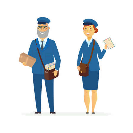 Post officers - cartoon people characters illustration isolated on white background. Smiling senior man and young woman in blue uniform holding carton parcels, letters