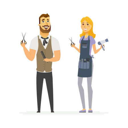 Hairdressers - cartoon people characters illustration isolated on white background. Young smiling hipster man with beard and woman holding barber tools, scissors, brush. Hairstylists in a beauty salon