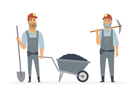 Miners - cartoon people characters illustration on white background. Two smiling standing workers with a pickaxe, trolley with coal, spade wearing overalls and hard hats with lights
