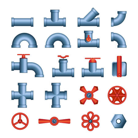 Set of pipes and valves - modern vector isolated clip art Banque d'images