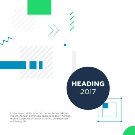 Abstract Background - modern vector template illustration on white background with place for your text and heading formed in a dark round frame. Stylish image with blue and green geometric shapes and lines
