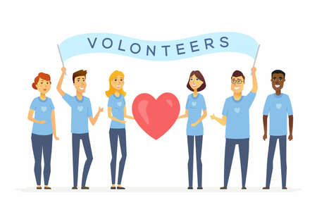 Happy volunteers with a banner - cartoon people characters isolated illustration on white background. International men and women stand together and hold a big red heart. Concept of social work, unity
