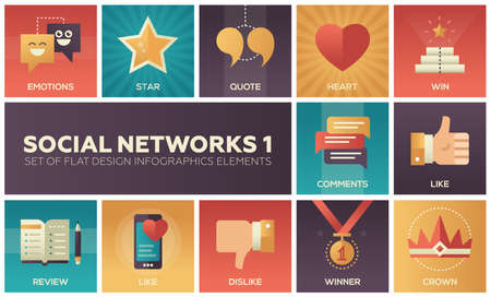 Social networks - modern set of flat design infographics elements. Colorful square images of emotions, star, quote, heart, win, review, like, dislike, winner, comments, crown Standard-Bild
