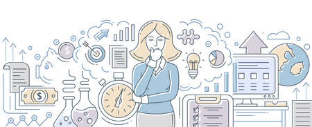 Business process management - modern flat design style isolated illustration on white background. An image of a businesswoman surrounded by metaphorical concepts of journeys, finance, ideas, targeting