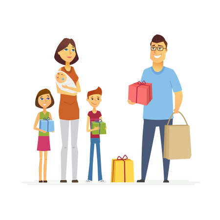 Volunteer help mother with children - cartoon people characters isolated illustration on white background. Young social worker brings presents to a woman with three kids. Assistance to large families