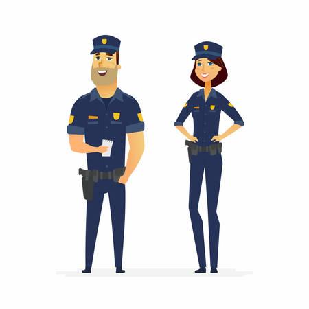 警察官 - 漫画人文字イラスト白い背景で隔離の義務に。立っている人とホルスターと典型的な制服を着た女性を笑顔若い。男性ワーカーがノートを
