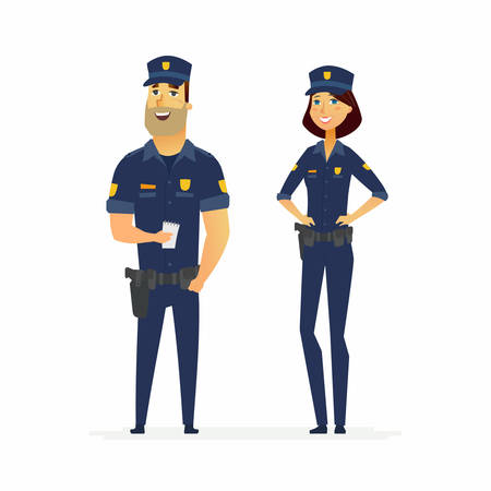 Police officers on duty - cartoon people characters illustration isolated on white background. Young smiling standing man and woman in typical uniform with holsters. Male worker is holding a notebook