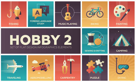 Hobby - set of flat design infographics elements. Fishing, foreign language study, music playing, biking, painting, sewing, knitting, camping, traveling, aviamodelling, carpentry, puzzle, diving Иллюстрация