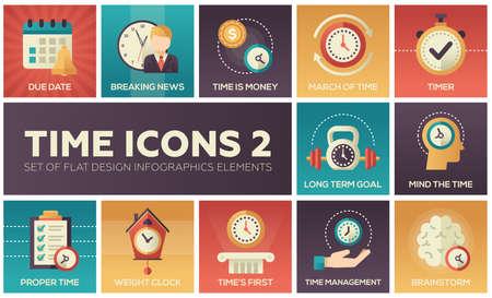 시간 아이콘 - 평면 디자인 infographics 요소의 현대 집합입니다. 만기 날짜, 속보, 돈, 행진, 타이머, 장기 목표, 마음, 적당한, 체중 시계, 첫째로, 관리,