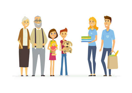 Volunteers help children and seniors - cartoon people characters isolated illustration