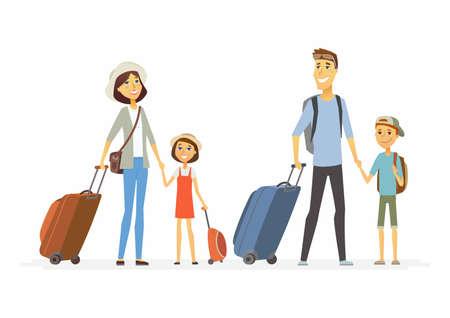 Familie op vakantie - cartoon personen personages geïsoleerde illustratie