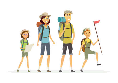 Family goes hiking - cartoon people characters isolated illustration