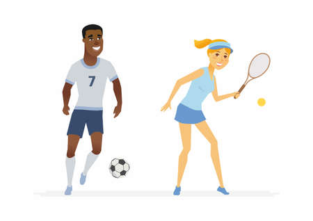 Tennis and football players, cartoon people characters illustration on white background. Young African sportsman running with a ball and woman with a racket. Both wearing uniform and smiling.