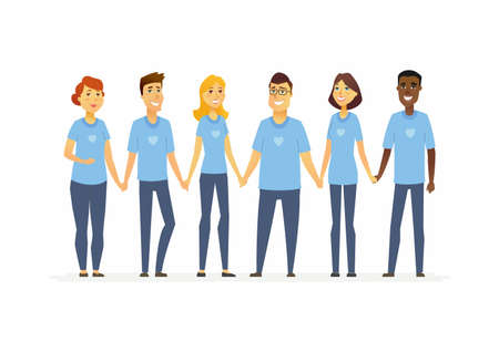 Happy volunteers holding hands, cartoon people characters on white background. International men and women wearing blue t-shirts with a heart. Concept of social work and unity. Illustration