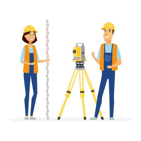Geodesists - cartoon mensen karakters illustratie