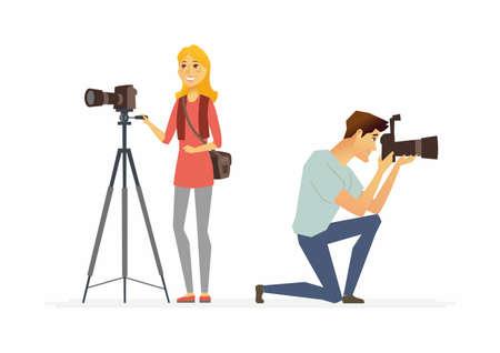 Photographers - cartoon people characters illustration