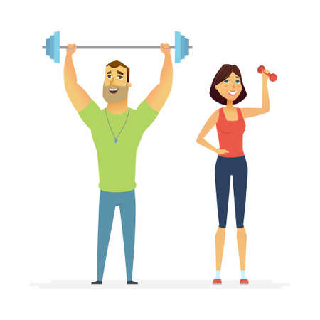 Fitness instructors - cartoon people characters illustration Stock Photo