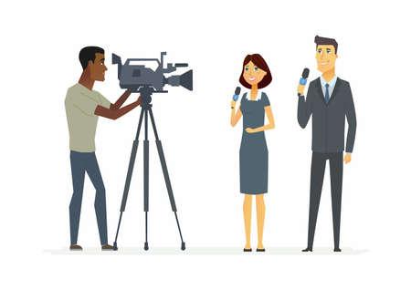 TV presenters - cartoon people characters illustration