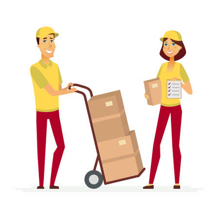 Delivery service workers - cartoon people characters illustration Stock Photo