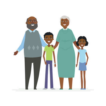 Happy African grandparents - cartoon people characters isolated illustration