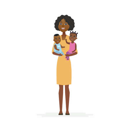 Young African mother with babies - cartoon people characters isolated illustration