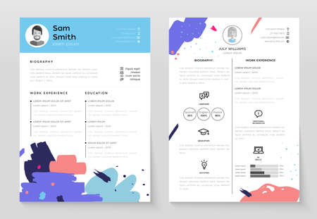 Personal CV- set of modern template illustrations.