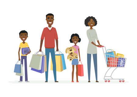 アフリカの家族は買い物に行く - 漫画の人々の文字孤立したイラスト 写真素材