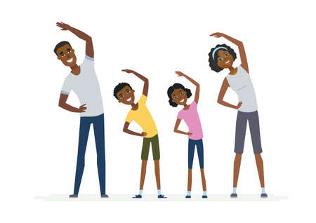 African family doing exercises- cartoon people characters isolated illustration