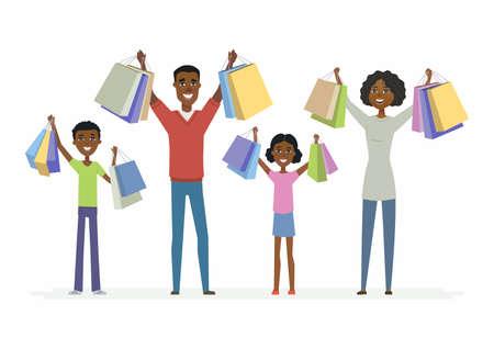De gelukkige Afrikaanse familie geniet van winkelend - de geïsoleerde illustratie van beeldverhaalmensen karakters
