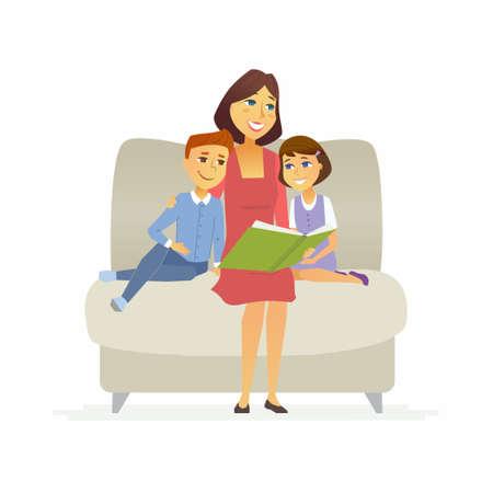 Moeder leest een sprookje - cartoon personen personages geïsoleerde illustratie Stockfoto