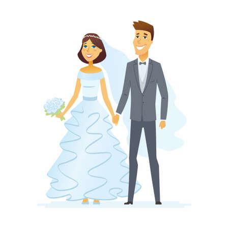 결혼식 - 만화 사람들이 고립 된 그림. 스톡 콘텐츠 - 91382395