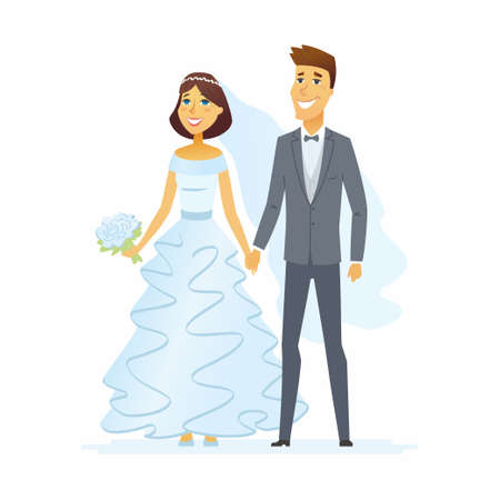 Wedding - cartoon people characters isolated illustration.