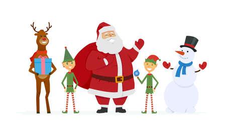 Père Noël avec les elfes, Rennes, bonhomme de neige - illustration de personnages isolés de dessin animé. Vecteurs