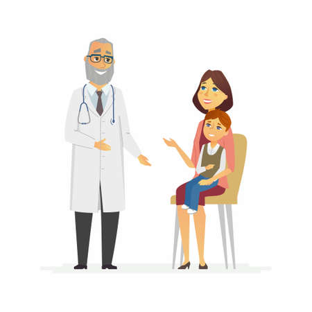 Mother with son at doctors - cartoon people characters isolated illustration.