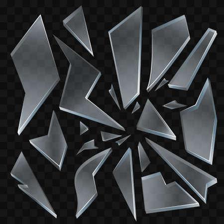 壊れたガラス - 現代の現実的な孤立したクリップアート。  イラスト・ベクター素材