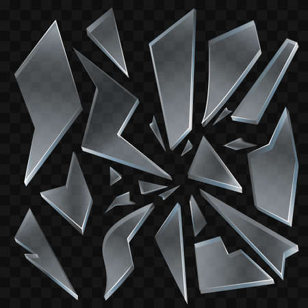 Broken glass - modern realistic isolated clip art. Illustration