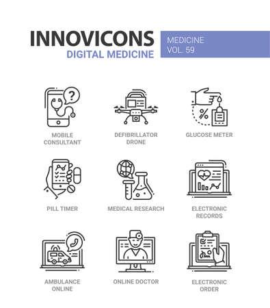 Digital medicine - line design icons set. Illustration