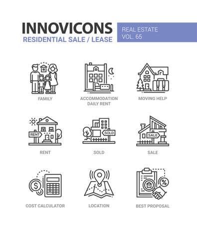 Residentiële verkoop en lease - geplaatste pictogrammen van het lijnontwerp. Stock Illustratie
