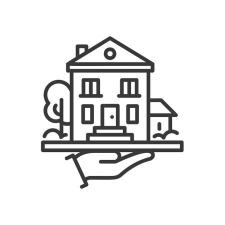 House - line design single isolated icon.