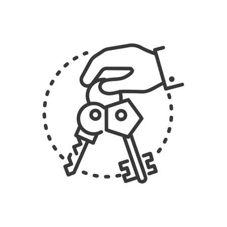 Keys - line design single isolated icon.